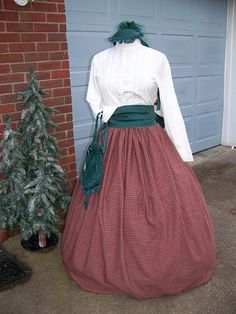 Civil War costume Dickens Christmas  Plaid Long by civilwarlady, $54.99