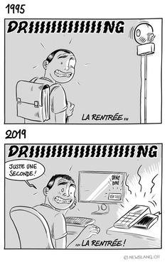 La période estivale se termine ! ☀️  Pendant un peu plus d'un mois, j'étais assailli de mon doute annuel : est-ce que tous mes clients m'auraient oublié ? 😅  Et d'un seul coup, certains souvenirs de jeunesse remontent curieusement à la surface...  ...bien des années plus tard, quand tout le monde reprend le boulot ! 😆  Chez vous c'est pareil ? 😃 It Works, Change, Comics, Memes, Yearly, Back To School, One Month Old, Youth, World