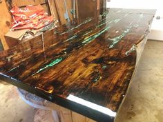 Custom Made Cedar Table W/ Turquoise Inlays