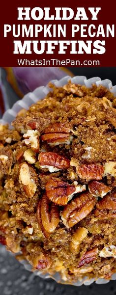 Thanksgiving Pumpkin Pecan Muffins with Cinnamon Sugar Crumble Topping--use GF flour Thanksgiving Recipes, Fall Recipes, Holiday Recipes, Holiday Foods, Muffin Recipes, Breakfast Recipes, Dessert Recipes, Pecan Desserts, Brunch Recipes