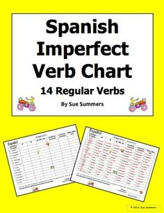 Spanish Imperfect Verb Conjugation Chart - 14 Regular Verbs by Sue Summers