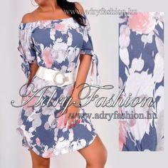 563ee4cc5a Acélkék rózsás vállra húzható ujján köthető női ruha - AdryFashion női ruha  webáruház, Ruha webshop, Amnesia, NedyN, Rensix , Egyedi ruha
