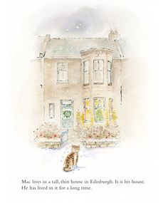 Festive scene with Mac the cat in a picture book by Margaret Forrester