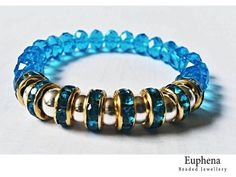 Turquoise and Swarovski Crystal Stretch Bracelet - £25.00 This is a stunning one of a kind stretch bracelet created with beautiful turquoise swarovski crystals, turquoise space beads and silver plated beads.  I've only created one bracelet as I wish for you have an exclusive design.