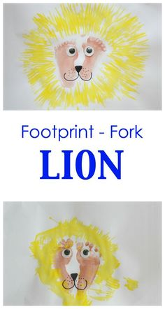 Fun Kids Craft Activity! Make a lion using footprints and a fork!