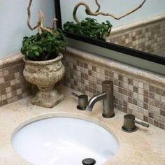 Bathroom Tile, want this back splash. Like the edge above the back splash.