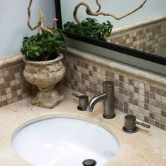 Bathroom Tile, want this back splash. Like the edge above the back splash.