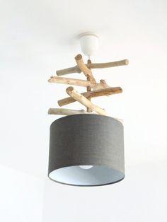 lustre suspension plafonnier en bois flott cr ation unique motif plumes paon. Black Bedroom Furniture Sets. Home Design Ideas