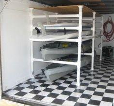 The PVC paddleboard & kayak racks my husband built for the ...