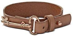 Very cute !  Rose Gold Tone Key Charm Nude Leather Wrap Bracelet - Lyst