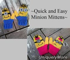 Crochet Pattern Quick and Easy Minion Mittens by uniquelymore, $5.50