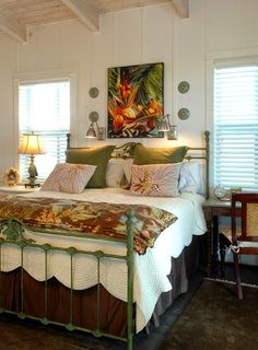 tropical bedroom green and white with pops of orange and yellow http - Tropical Decor