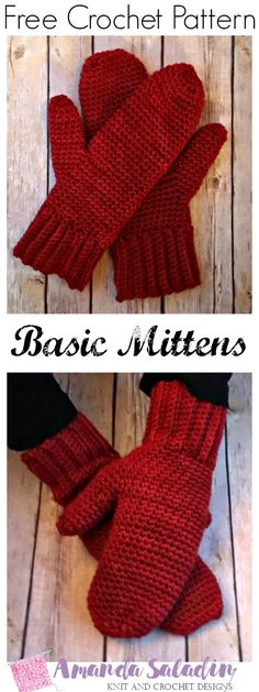 Learn to crochet a pair of basic mittens to customize with this free crochet pattern. Simple enough for a beginner with a free video tutorial.