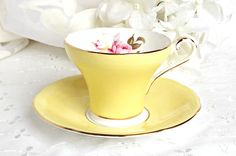 Aynsley Teacup and Saucer, Fine Bone China, Made in England, Aynsley Corset Style Teacup, Tea Party by AgedwithGraceVintage on Etsy
