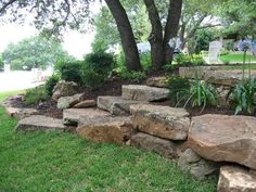 75 Awesome Front Yard Rock Garden Landscaping Ideas - Landscaping with boulders - Landscaping With Boulders, Hillside Landscaping, Front Yard Landscaping, Backyard Landscaping, Landscaping Ideas, Landscaping With Large Rocks, Rock Garden Plants, Water Garden, Garden Care