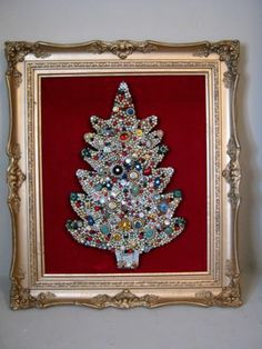 """Vintage Jewelry Framed Lighted Christmas Tree Picture Huge 27"""" x 30"""" Art   eBay $129"""