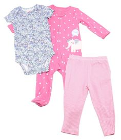 "Carters 3-Piece Baby Girls 9 Months ""Elephant"" Pajama Set, Pink/Multi"