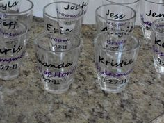 diy wedding party shot glasses :  wedding black purple white bridesmaids diy 023