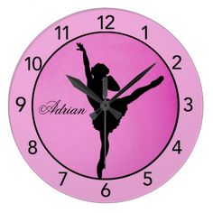 Pink and Black Ballerina Wall Clock