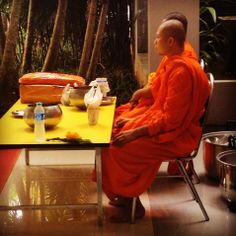 Monks waiting to give blessing