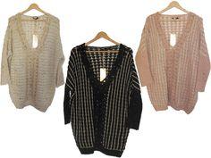 Pull rose / noir / beige femme tendance chic tunique. http://milena-moda.com/