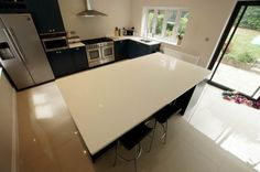 Mr & Mrs Johnson - Bianco Puro - Harpenden, Herts - Rock and Co Granite Ltd Farrow And Ball Paint, White Quartz, Painted Doors, Granite, Corner Desk, Flooring, Pure Products, Kitchen, Furniture