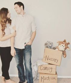We're having a baby A baby announcement. Just moved into our new home. We're having a baby A baby announcement. Just moved into our new home. Baby On The Way, Our Baby, Baby Baby, Baby Girls, Baby Pictures, Baby Photos, Baby News, Pregnancy Announcement Photos, New Home Announcements