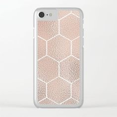 Rose gold foil geometric hexagons clear phone case on Society6