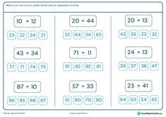 Ficha de solucionar sumas para segundo de Primaria por la que los niños tendrán que realizar estas sumas sencillas y marcar el resultado correcto. Bullet Journal, Education, Excercise, Stairs, Deco, Design, Numbers, Ejercicio, Exercise