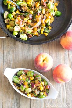 Brussels Sprouts with Peaches and Bacon recipe from @cookthestory - This side dish pairs sweet peaches and smoky bacon with pan roasted Brussels sprouts. It's a quick and easy side dish recipe.
