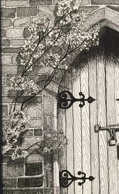 Pen and Ink Drawing, Art, Nostalgic Art, Secret Garden Gateway : door ink art Ink Pen Art, Pencil Art Drawings, Drawing Sketches, Drawing Ideas, Sketching, Black Pen Sketches, Stylo Art, Architecture Drawing Art, Nostalgic Art