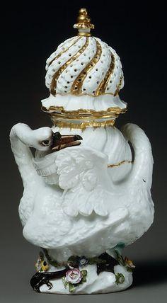 Sugar caster (part of a service)  Factory:Meissen Manufactory (German, 1710–present) Date:model introduced in 1738 Culture:German, Meissen Medium:Hard-paste porcelain Dimensions:H. 9-1/4 in. (23.5 cm.)