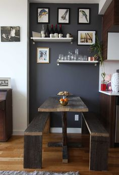 Love the dark paint with the white and the wood - maybe for back wall or dining nook wall?
