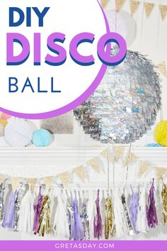 Every new year's eve party needs a sparkly ball. Our quick and easy DIY disco ball tutorial is the perfect solution and addition to your gathering. Home Dance, Dance Parties, Glitter Crafts, Party Needs, Make Your Own, How To Make, Disco Ball, Diy Birthday, House Colors