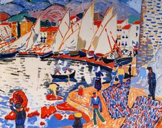 Andre Derain DRYING SAILS (SAIL BOATS) The picture was painted in 1905 at Collioure, where Derain worked with Matisse, and was shown at the first Fauve exhibition in the 1905 Salon d'Automne. Andre Derain, Paul Cezanne, Henri Matisse, Raoul Dufy, Maurice De Vlaminck, Georges Braque, Piet Mondrian, Post Impressionism, Art Graphique