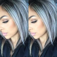 Silver gray ombre hair color ideas for short hair managed to supplant the burnin. - - Silver gray ombre hair color ideas for short hair managed to supplant the burning red, cold blue and ext. Silver Ombre Hair, Dyed Hair Purple, Ombre Hair Color, Hair Colour, Gray Ombre, Gray Hair Colors, Dyed Gray Hair, Gray Purple Hair, Grey Ombre Hair Short