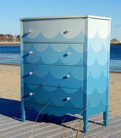 baby room themes  beachy | Ombre Ocean blue Dresser. | Neutral Beach Theme Baby Room