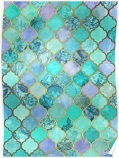 mint lavender and gold painting