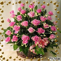 kosár rózsa Birthday Greetings, Happy Birthday, Vote Sticker, Picture Cards, Blouse Designs, Most Beautiful, Floral Wreath, Bling, Flowers