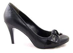 Nine West Mikaelao Black Cap Toe Bow Classic Pumps Stilettos Leather 7 5 | eBay