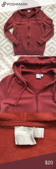 ASOS Full Zip Hoodie Size 4 Small The perfect Full Zip Hoodie.  Has braided strings, one is a little loose, shown in photos. Size small/4 ASOS Tops Sweatshirts & Hoodies