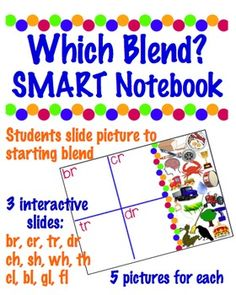 Which Blend?  SMART Notebook -3 Sets: ch,sh,th,wh/gl,cl,bl, fl/br,cr,tr,dr $