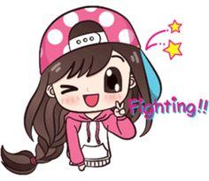 I like to wear polka dot dress.Let enjoy with my lovely stickers. Love Cartoon Couple, Cute Cartoon Girl, Cute Love Cartoons, Cartoon Art, Cute Love Pictures, Cute Cartoon Pictures, Cute Love Gif, Kawaii Cute, Kawaii Anime