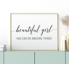 Beautiful Girl You Can Do Amazing Things Printable Art, Girl Quotes Prints, Girl Room Decor, Girl Bedroom Wall Art Sign *INSTANT DOWNLOAD* Girls Room Paint, Girl Bedroom Walls, Girl Room, Printable Bible Verses, Printable Wall Art, Printing Websites, Online Printing, Love Wall Art, Bible Verse Art