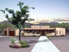 House Plan 90211   Santa Fe   Southwest    Plan with 2015 Sq. Ft., 3 Bedrooms, 3 Bathrooms, 3 Car Garage