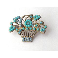 Turquoise and Gold Rhinestone Flower Basket Brooch Pin, Lovely... ($31) ❤ liked on Polyvore featuring jewelry, brooches, gold jewelry, rhinestone brooches, beads jewellery, rhinestone jewelry and gold charms