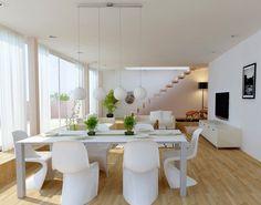modernes wohnzimmer inspirationen in weiß mit holzboden