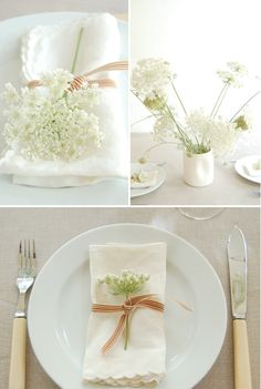 I want to use queen anne's lace instead of baby's breath for a more Victorian antique feel (white wedding) Wedding Reception, Our Wedding, Dream Wedding, August Wedding, Cake Wedding, Wedding Napkins, Reception Table, Hotel Wedding, Party Mottos
