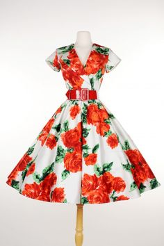 369e406def1 Pinup Couture- Birdie Party Dress in Red Vintage Floral - Plus Size