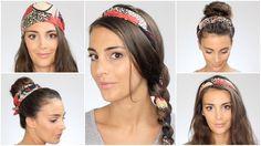Tuto 5 Coiffures faciles avec un foulard. 5 Hairstyle with a scarf.